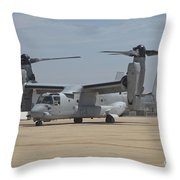 An Mv-22 Osprey Taxiing At Marine Corps Throw Pillow