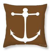 Anchor In Brown And White Throw Pillow