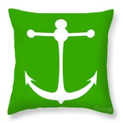 Anchor In Green And White Throw Pillow