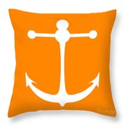 Anchor In Orange And White Throw Pillow