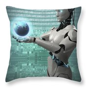 Android Holding Globe Throw Pillow