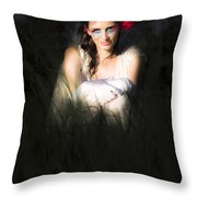 Angel Sitting In The Darkness Throw Pillow