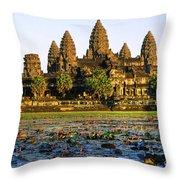 Angkor Wat At Sunset - Cambodia Throw Pillow