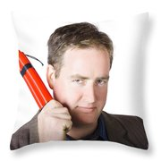 Angry Business Man Holding Stick Of Dynamite Throw Pillow