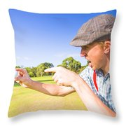 Angry Golf Throw Pillow