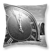 Antique Clocks In The Desert Sand Throw Pillow