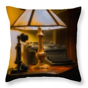 Antique Lamp Typewriter And Phone Throw Pillow