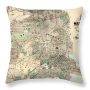 Antique Map Of City And County Of San Francisco Throw Pillow