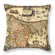 Antique Map Of Holland 1630 Throw Pillow