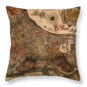 Antique Map Of Leo Belgicus 1630 Throw Pillow