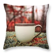 Antique Teacup In The Woods Throw Pillow by Edward Fielding