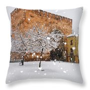 Arc Of Elvira While A Snowstorm Throw Pillow
