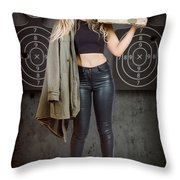 Army Pinup Girl At Rifle Range. Bullet Proof Throw Pillow
