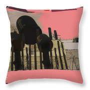 Art Homage Andrew Wyeth Bucket Fence Collage Near Aberdeen South Dakota 1965-2012 Throw Pillow