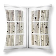 Aspen Forest White Picture Window Frame View Throw Pillow