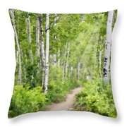 Aspen Path Impasto Throw Pillow