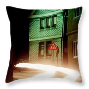 At Night In Thuringia Village Germay Throw Pillow