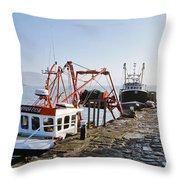 At The Cobb -- Lyme Regis Throw Pillow