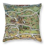 Atlanta Cartoon Map Throw Pillow