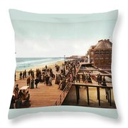 Atlantic City Boardwalk 1900 Throw Pillow