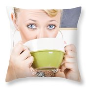 Attractive Blonde Woman Drinking Green Tea Throw Pillow