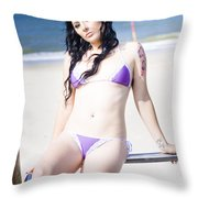Attractive Girl On The Beach Throw Pillow