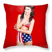 Attractive Usa Pinup Woman Smoking Throw Pillow