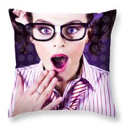 Attractive Young Nerd Girl With Surprised Look Throw Pillow