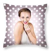 Attractive Young Retro Girl With Look Of Surprise Throw Pillow