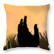 Audience Hands And Lights At Concert Throw Pillow