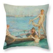 August Blue Throw Pillow