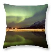 Aurora Borealis Over Nares Lake Throw Pillow