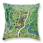 Austin Texas Cartoon Map Throw Pillow