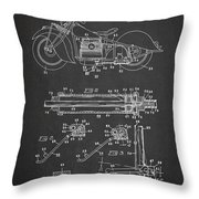 Automatic Motorcycle Stand Retractor Patent Drawing From 1940 Throw Pillow by Aged Pixel
