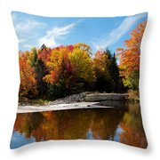 Autumn At The Lock And Dam Throw Pillow