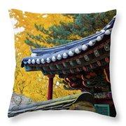 Autumn Color At Namsangol Folk Village Throw Pillow