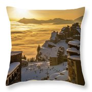 Avoriaz At Sunset Throw Pillow