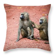 Baboons In African Bush Throw Pillow