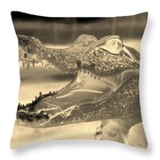 Baby Gator Neg Dark Sepia Throw Pillow