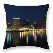 Baltimore Skyline At Dusk On The Inner Harbor Throw Pillow