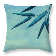 Bamboo - Blue Throw Pillow