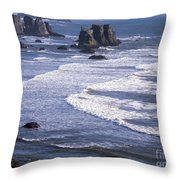 Bandon Beach Seastacks 4 Throw Pillow