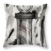 Barber Pole Throw Pillow by The Styles Gallery