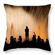 Barcelona By Night Throw Pillow