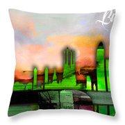 Barcelona Spain Skyline Watercolor Throw Pillow