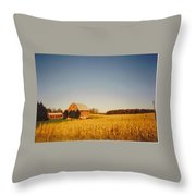 Barn And Corn Field Throw Pillow