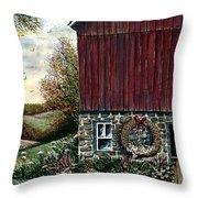 Barn Wreath Throw Pillow