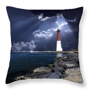 Barnegat Inlet Lighthouse Nj Throw Pillow
