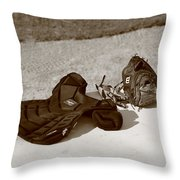 Baseball Glove And Chest Protector Throw Pillow by Frank Romeo