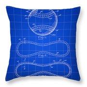 Baseball Patent 1927 - Blue Throw Pillow